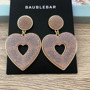 BaubleBar Pink Blush Druzy Heart Earrings - NEW!!!